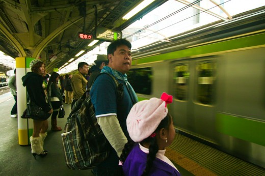 Waiing for the JR Yamanote Train to Yoyogi