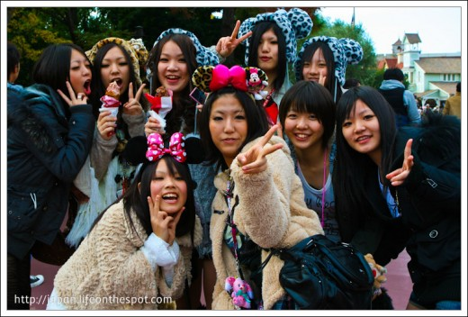 Japanese Girls Posing for the camera